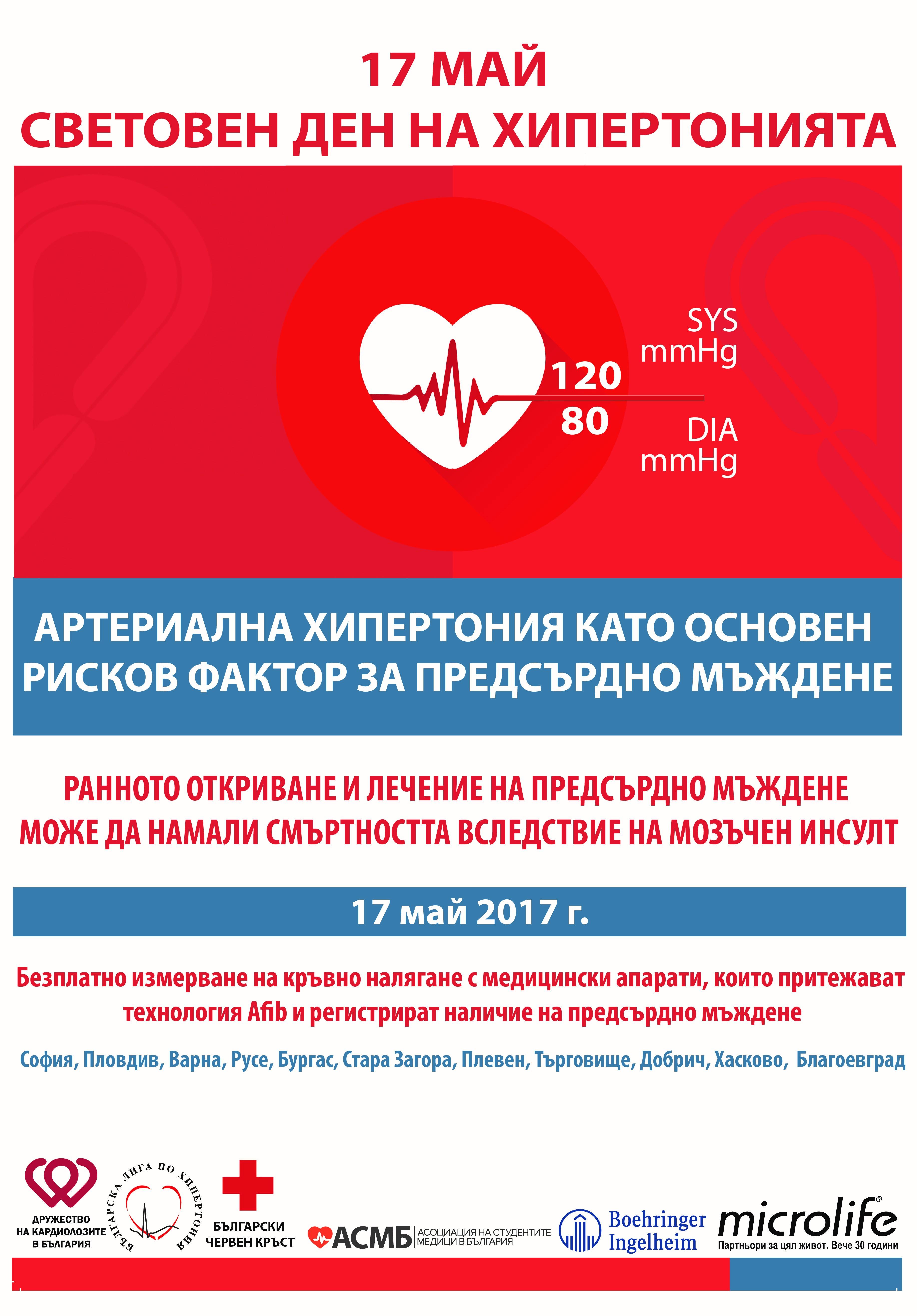 """17 МАЙ - СВЕТОВЕН ДЕН ЗА БОРБА С ХИПЕРТОНИЯТА '2017 НАЦИОНАЛНА КАМПАНИЯ""""АРТЕРИАЛНАТА ХИПЕРТОНИЯ КАТО ОСНОВЕН РИСКОВ ФАКТОР ЗА ПРЕДСЪРДНО МЪЖДЕНЕ"""" СОФИЯ, ПЛОВДИВ, ВАРНА, РУСЕ, СТАРА ЗАГОРА, БУРГАС, ПЛЕВЕН, БЛАГОЕВГРАД, ТЪРГОВИЩЕ, ХАСКОВО И ДОБРИЧ"""